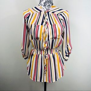 Adorable retro looking striped 3/4 sleeve shirt